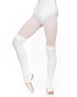 Getry Długie z Wycięciem Na Piętę Damskie Baletowe Białe